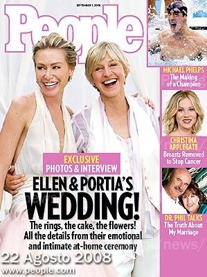 EUA: Revista People faz capa com casamento de Ellen e Portia