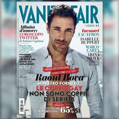 ITÁLIA: Raoul Bova é capa da Vanity Fair Itália apoiando os casais homossexuais